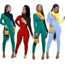 Latest Design Hollow Out Contrast Color Women Fashion Clothing 2021 Women One Piece Jumpsuits And Rompers