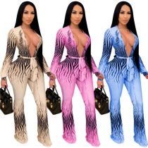 New Arrival Women Fashion Clothing 2021 Women Sexy Hollow Out Print Wide Leg One Piece Jumpsuits And Rompers