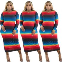 New Arrivals Fashion Clothing Woman Rainbow Long Sleeve Plus Size Lady Elegant Sexy Dresses Women Casual Dress