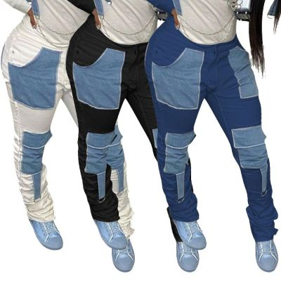 Best Price Pockets Patchwork Popular New Fashion Clothing Woman Clothes 2020 Denim Jeans Women Trousers