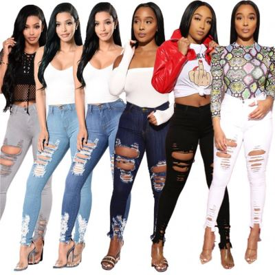 New Arrival 2021 Fashion Ladies Hole Bottom Women Casual Skinny Denim Pant Woman Jeans Trousers Clothing
