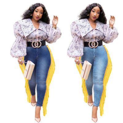 Best Design Fashion Womens Clothing Tassel Tight Pencil Long Pants Ladies Trousers Women Denim Pant Jeans