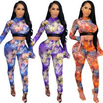 0122813 Casual Fashion Women Clothing Digital Mesh Printing Flare sleeve Womens Two Piece Set