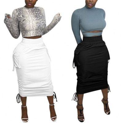 0122811 Best Design Women Fashion Clothing Solid Color Bandage Women Skirts