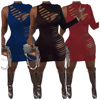 Best Design 2020 Fashionable Sexy One Sleeve Half Collar Bodycon Dress Women Clothing Woman Casual Dresses