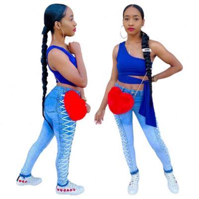 Wholesale Ladies Clothes Gradient Casual Pockets High Wait Side Drew String 2021 Denim Jeans Women Pants