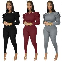 Newest Design 2021 Winter Long Sleeve Bubble Long Sleeve Solid Color Womens Casual Two Piece Set Women Clothing