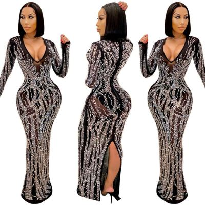 Hot Selling V Neck Rhinestone Party Women Clothes 2021 Sexy Dresses Women Lady Elegant Woman Casual Dress