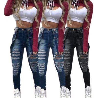 Trendy Design Ladies Winter Ripped Suspenders High Wait Pockets Good Quality 2021 Denim Jeans Women Pants