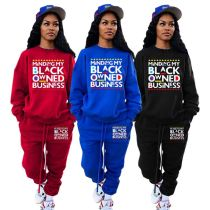 Best Sale 2021 Winter Drawstring Letter Printed Stacked Pants Two Piece Set Women Clothing Jogger Set