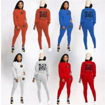 New Arrival 2021 Winter Long Sleeve Letter Printed  Wholesale Womens Casual Two Piece Set Women Clothing