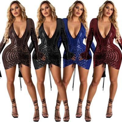Wholesale Price Deep V Neck Sequin Trendy Clothes 2021 Sexy Dresses Women Lady Elegant Woman Casual Short Dress