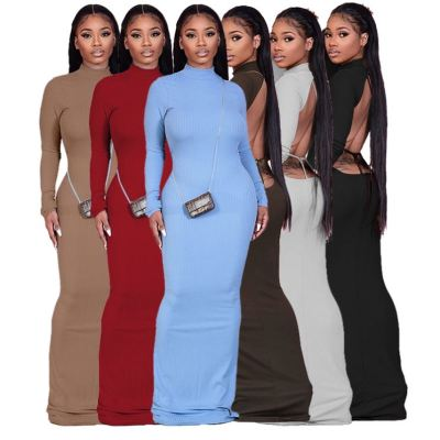 Best Design Plus Size Women Clothing Backless Bandage Ribbed Sexy Solid Color Women Maxi Long Dresses Lady Casual Dress