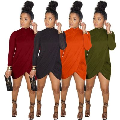Best Seller 2021 Ladies Winter High Neck Long Sleeve Clothing Casual Sexy Dress Women Lady Elegant Dresses