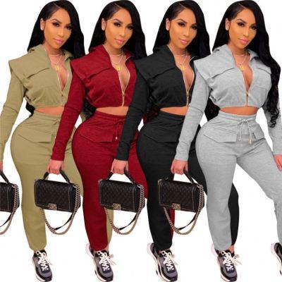 Latest Design 2021 V Neck Zipper Crop Top Drawstring Womens Hoodie Sets Two Piece Set Women Clothing