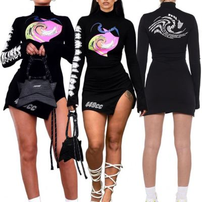 Hot Selling 2021 Ladies Winter Thick Long Sleeve Clothing Sexy Dresses Women Lady Elegant Casual Dress