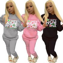 Trendy 2021 Winter Long Sleeve Letter Printed Pocket Womens Casual Two Piece Set Women Clothing Hoodie Sets