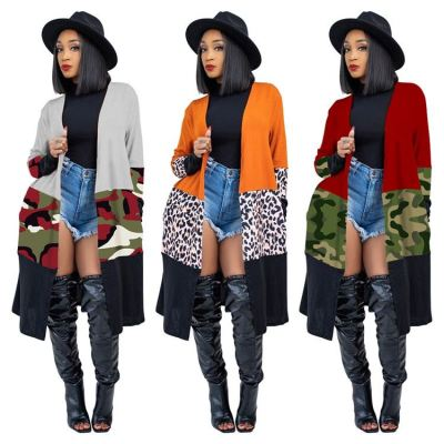 1010905 Best Seller Women Clothes 2021 Spring Leopard Camouflage Print Cardigan Women Long Thin Coat