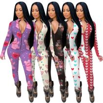 Hot Sale Long Sleeves Overall Printed New Clothing Womens Clothes 2021 Women One Piece Jumpsuits And Rompers