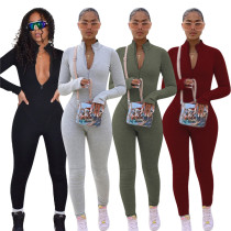 New Arrival 2021 Fashion Trendy Solid Color Long Sleeve BodyconJumpsuits Women One Piece Jumpsuits And Rompers