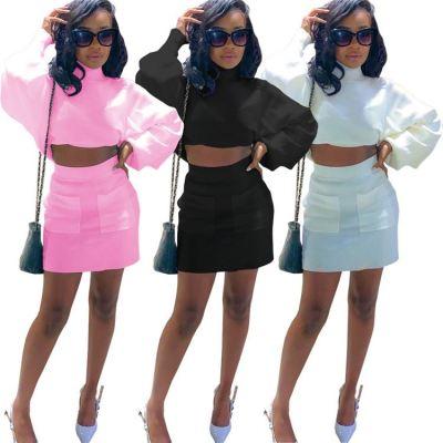 Hot Sale 2021 Womens Clothes Long Sleeve Solid Color Elegant Girls Two Piece Set Skirt Sets Women 2 Piece Outfits