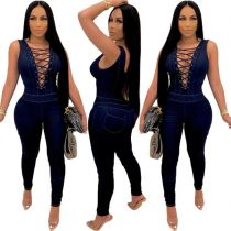 New Design Ladies Sexy Hollow Out Bandage Sleeveless Bodycon Denim Jumpsuit 2021 Women One Piece Jumpsuits