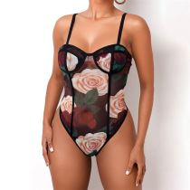 New Design Rose Flower Sexy Mesh Perspective Sleeveless Trendy BodySuit For Women Clothing Womens Jumpsuit