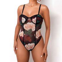 New Design Rose Flower Sexy Mesh Perspective Sleeveless Trendy BodySuit For Women Clothing Womens Jumpsuit