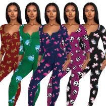 High Quality Printed Sleep Wear Lounge 2021 Lady Clothes Women One Piece Jumpsuits And Rompers Womens Jumpsuit