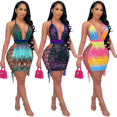 New Arrival Halter Backless Lacing Club Wear Fashion Short Dress Women Dresses 2021 Woman Casual Sexy Dress