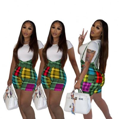 Best Style Short Sleeves T shirt Plaid Shorts 2 Piece Set Girls Clothes Women Clothing Womens Two Piece Pants Set