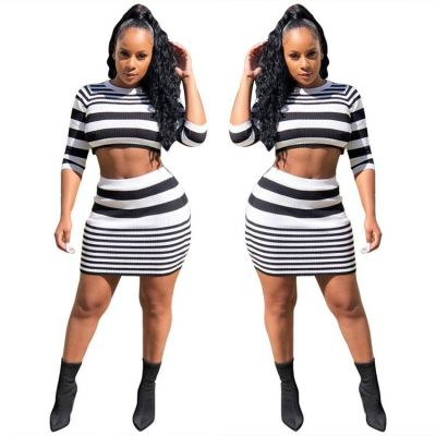 Best Quality Striped Crop Top Spring New Trendy Fashion 2 Piece Set Women Clothing Womens Two Piece Skirt Set