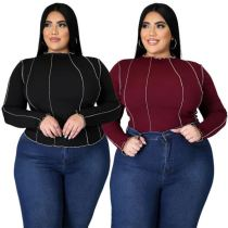 Best Sellers Long Sleeves Casual Stylish Stretchy New Lady Clothes Women Top Blouse Woman Plus Size Tops
