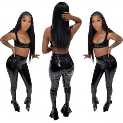 New Arrival Crop Top Leather Pants Sexy Stylish Popular Womens 2 Piece Set Two Piece Set Women Clothing Sets