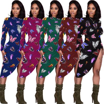 New Arrival Butterfly Printed Side Slit Irregular Casual Wear Stylish Womens Casual Sexy Dress Women 2021 Dress