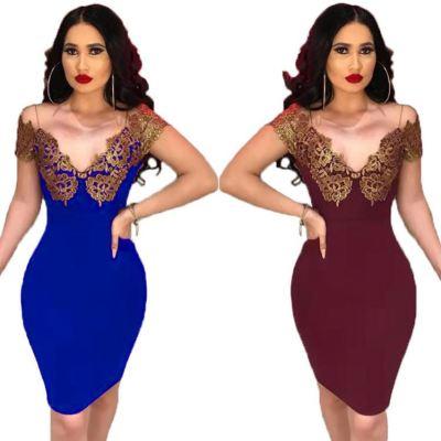 Latest Design Mid Length Bodycon Club Fashion Party Wear Dresses Women Lady Elegant Sexy Casual Dress