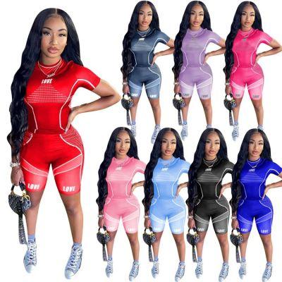 1030306 Hot Onsale Women Clothes 2021 Summer Casual Sports Suit Outfits Women 2 Piece Set