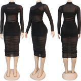 New Design Mesh Transparent Bodycon Sexy Women 3 Piece Set Women Clothing Three Piece Set