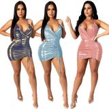 Wholesale New Suspender Drawstring Moen Casual Dress Women Sexy Party Short Mini Dresses