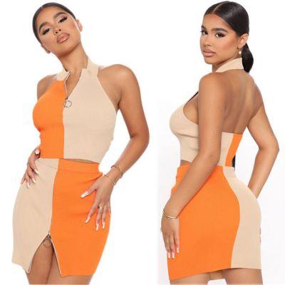 MOEN New Arrival Contrast Color Zipper Casual Set di due pezzi Women Two Piece Skirt Set Women 2 Piece Sets