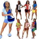 MOEN Best Quality Contrast Color Sports Wear Habits femme Womens Two Piece Set 2021 Women 2 Piece Set