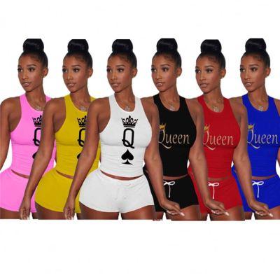 MOEN High Quality Sleeveless Sports Insiemi delle donne Women Sets Two Piece Set Women 2 Piece Clothes