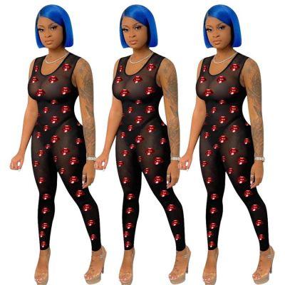 MOEN Good Design Mesh See Through Combinaison femme Women One piece Jumpsuits 2021 Women Jumpsuits And Rompers