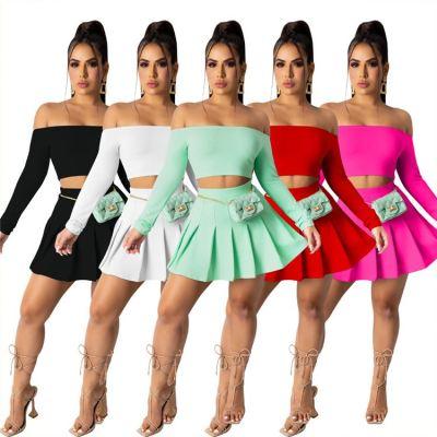 Good Design MOEN Off Shoulder Dua buah set Trendy Popular Womens Two Piece Sets Women 2 Piece Outfits Skirt Set