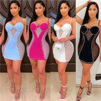 MOEN Good Style Spaghetti Strap Drilling Vestido de dama Party Dresses 2021 Women Sexy Casual Mini Dress