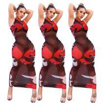 Good Price MOEN Mesh Perspective Vestidos largos Popular Lady Clothes Sexy Women Long Maxi Dresses 2021 Casual Dress