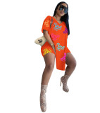 Best Clothing Wholesale Sports Print Loose V Neck Short Sleeve Womens Two Piece Set Two Piece Shorts Set