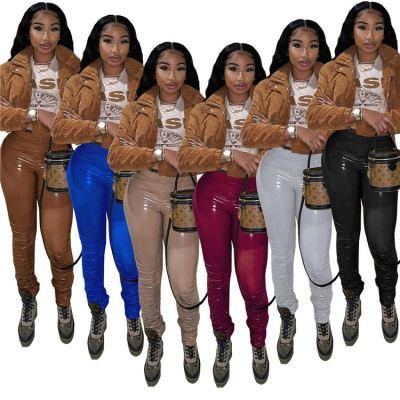 Newest Style MOEN  Fashion Leather Pantaloni donna 2021 Woman Stacked PU Long Pants Women Trousers