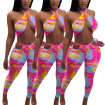MOEN Best Seller Colorful Halter Conjuntos de verano para mujer Two Piece Pants Pants Set 2 Piece Set Women Clothing