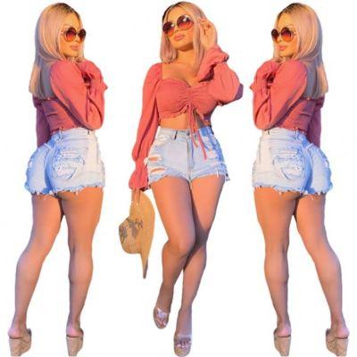 MOEN Summer 2021 Pantalones mujer Casual Trendy Ripped Jeans Denim Jeans Women Denim Shorts